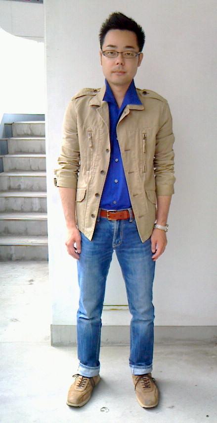 12BOYCOTTジャケット×青シャツ