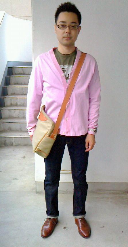 ジュンヤTシャツ+ギャルソンカーディガン+ステファノ鞄